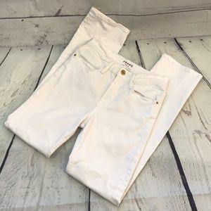 Frame denim le high straight white jeans